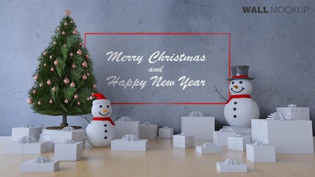 Mockup van 3ds-weergave van kerstboom Premium Psd