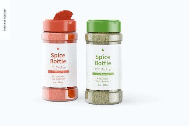 Mockup van 8 oz spice-flessen, geopend en gesloten