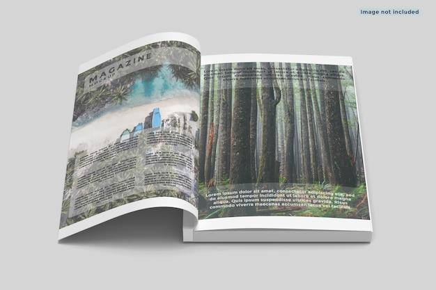 Mockup van a4-tijdschrift geopend
