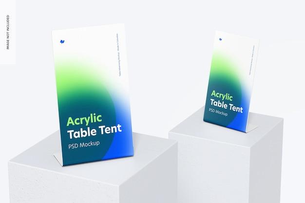 Mockup van acryl tafeltenten, perspectief