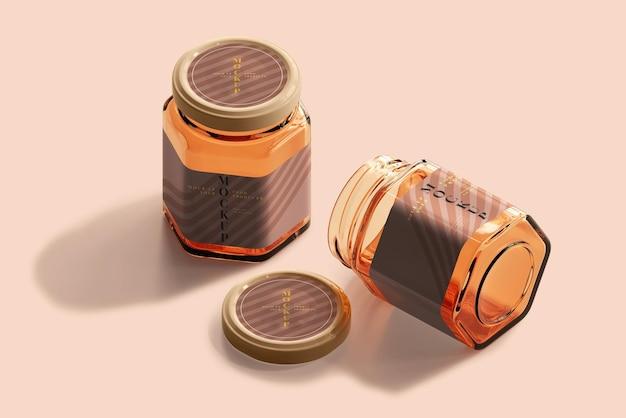 Mockup van amberkleurige glazen pot