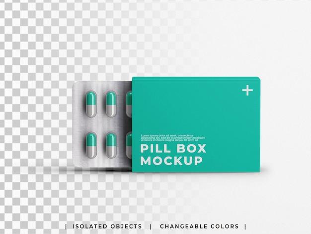 Mockup van apotheek medische pil capsules blisterverpakking geneeskunde container geïsoleerd