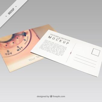 Mockup van briefkaart met een retro telefoon