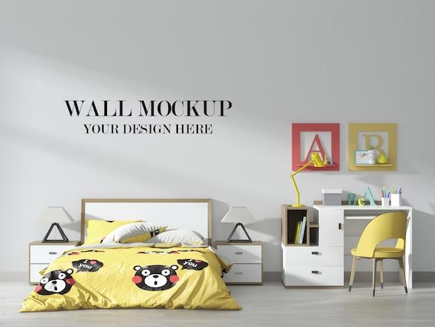 Mockup van de muur van de slaapkamer van de tiener met geel accentbinnenland