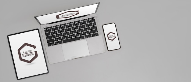 Mockup van digitaal apparaat met digitale tablet, smartphone en laptop