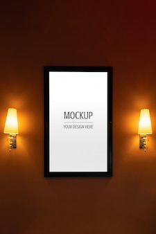 Mockup van display frame filmaffiche bioscoop lichtbak
