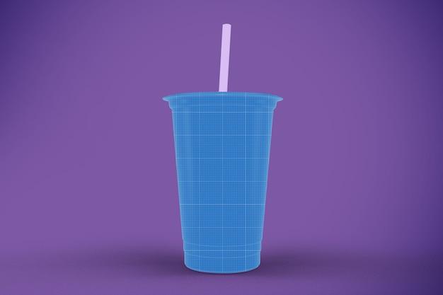 Mockup van doorzichtige plastic beker
