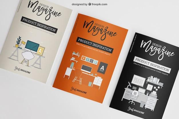 Mockup van drie brochures