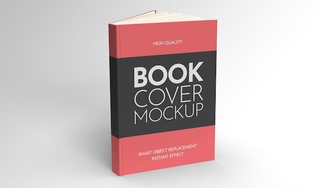 Mockup van een halfopen boek dat op een lichte achtergrond staat