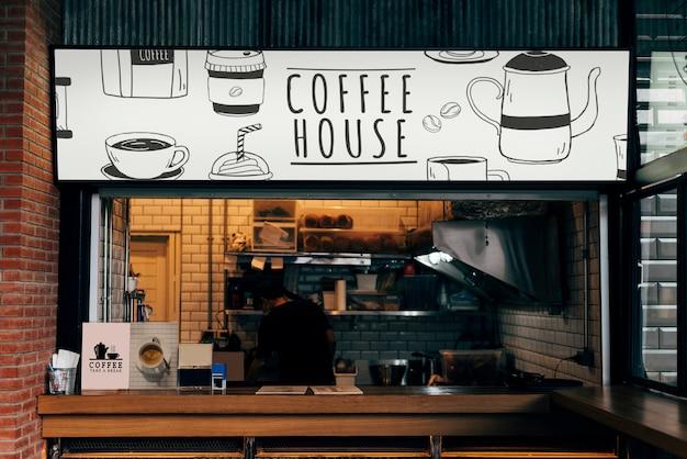 Mockup van een koffiehuiswinkel