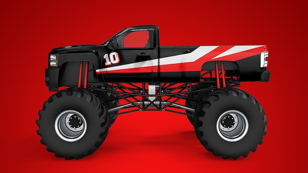Mockup van een monstertruck