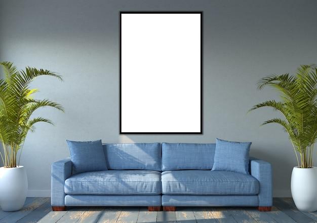 Mockup van een verticaal frame op een muur
