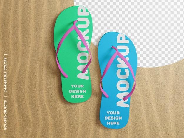 Mockup van flip flop strand slippers op zand bovenaanzicht geïsoleerd
