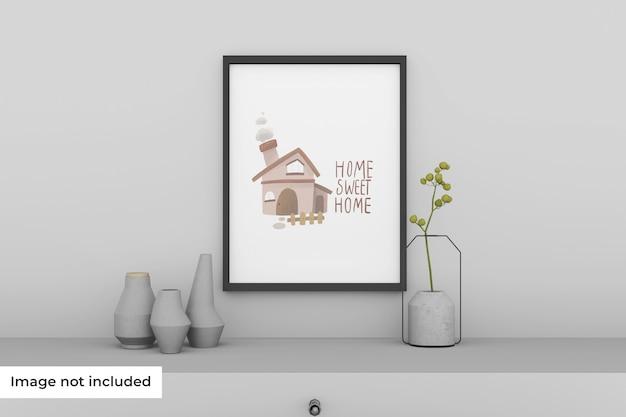 Mockup van fotolijst in de woonkamer