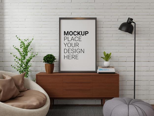 Mockup van fotolijst voor mockup aan de muur