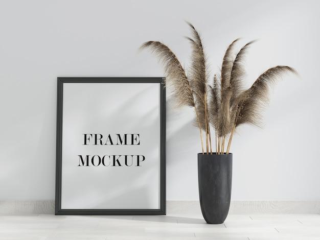 Mockup van frame dat tegen muur leunt