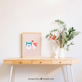 Mockup van frame op bureau