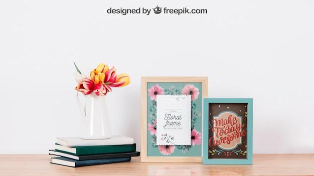 Mockup van frames en boeken