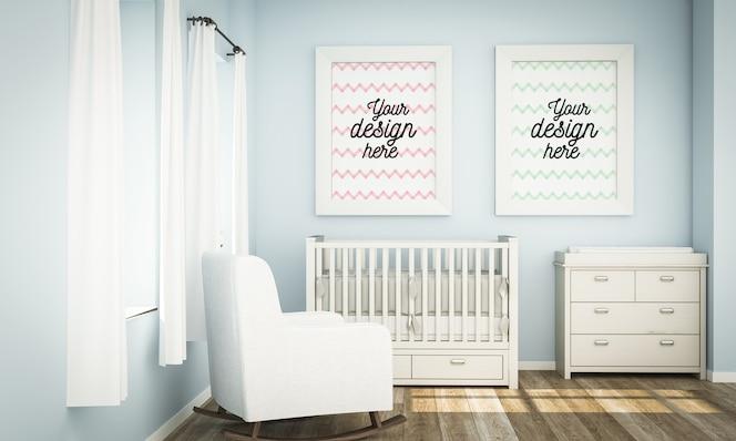 Mockup van frames in blauwe babykamer in 3d-rendering