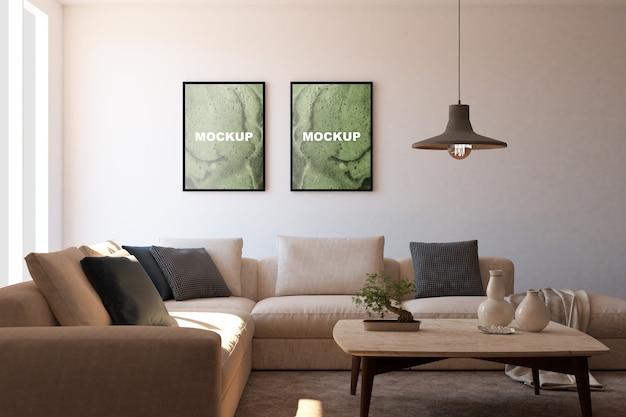 Mockup van frames in de woonkamer