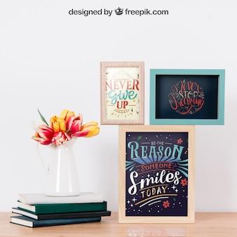 Mockup van frames op de muur en boeken