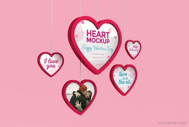 Mockup van harten die voor valentijnsdag hangen. bewerkbare kleuren.
