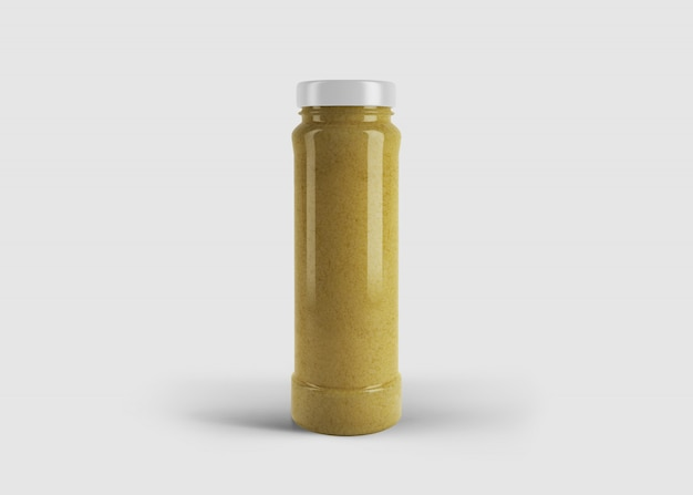 Mockup van hoge stijlvolle gele sap of saus pot met aangepaste label in schone studio scene