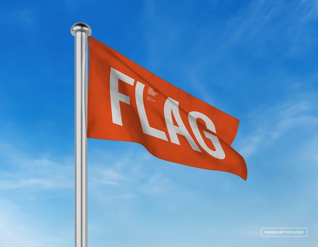 Mockup van horizontaal golvend vlagontwerp