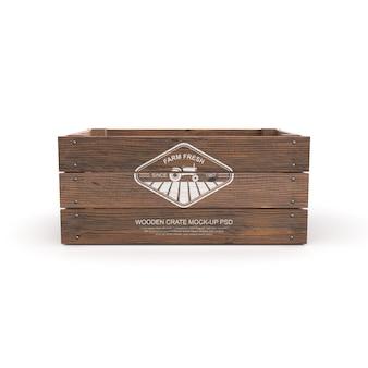 Mockup van houten krat geïsoleerd