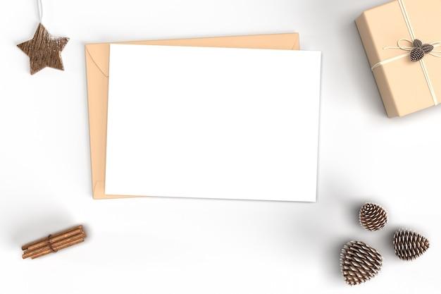 Mockup van kaart kerstmis met versieringen en versieringen
