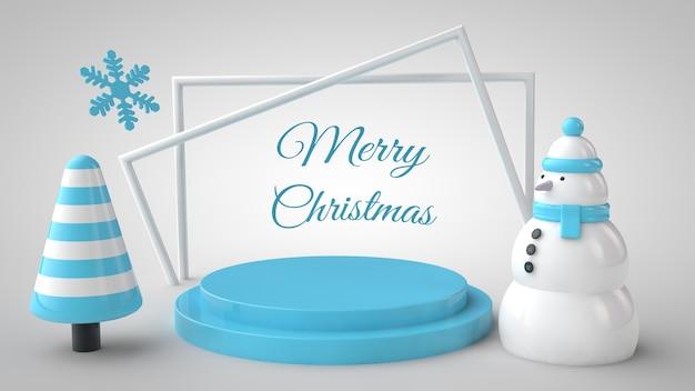 Mockup van kerstboom, sneeuwpop, podium en belettering frame