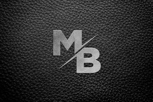 Mockup van leer metallic logo