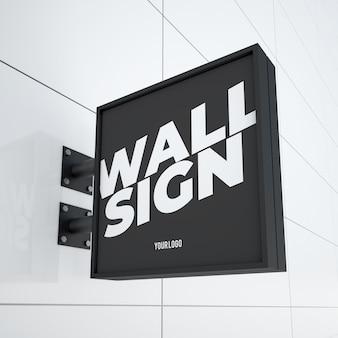 Mockup van moderne vierkante opknoping logo bord