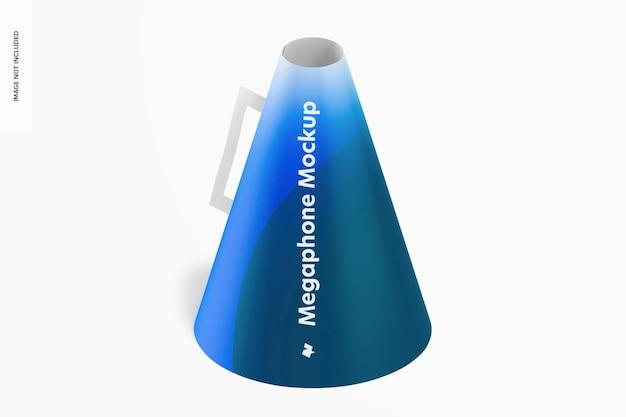 Mockup van papieren megafoon, isometrisch rechts aanzicht