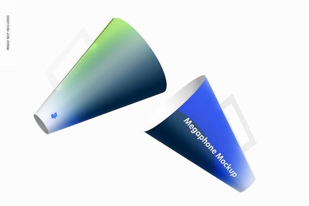 Mockup van papieren megafoons, drijvend