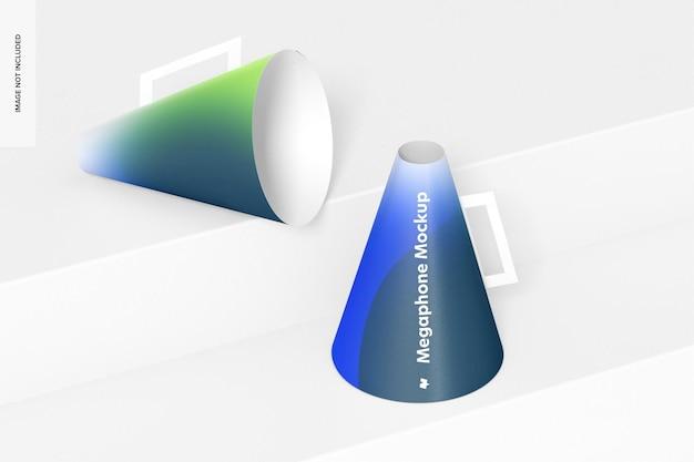 Mockup van papieren megafoons, juiste weergave