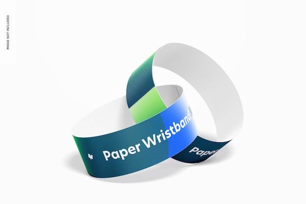Mockup van papieren polsbandjes,