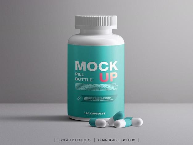 Mockup van plastic medische pil fles verpakking geneeskunde container met capsules geïsoleerd