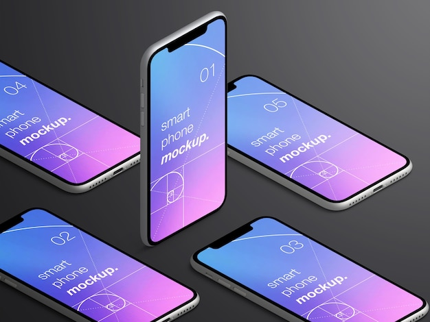 Mockup van realistische geïsoleerde isometrische smartphone-app-schermen