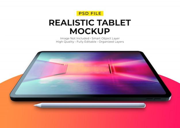 Mockup van realistische tablet en potlood