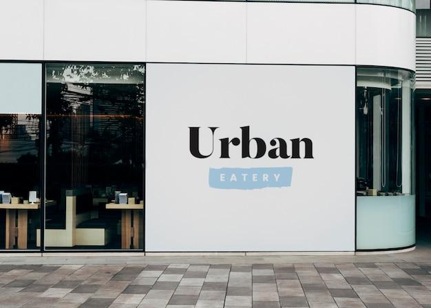 Mockup van signage van een restaurantmuur