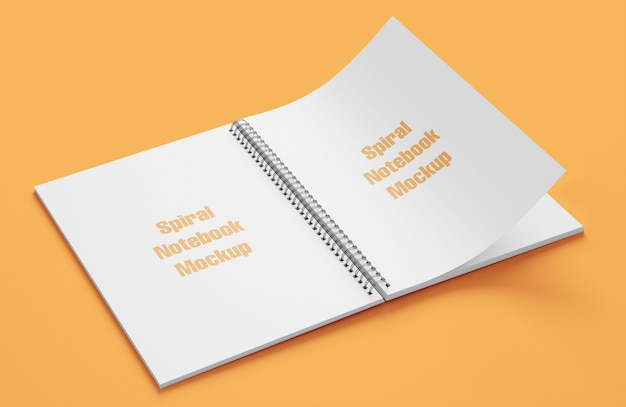 Mockup van spiraal notebook open