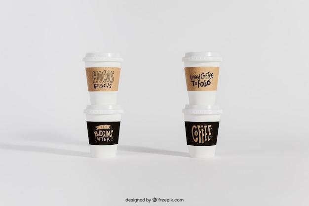 Mockup van take-away koffiekopjes