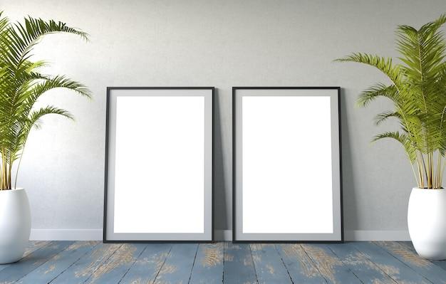 Mockup van twee frames op een muur