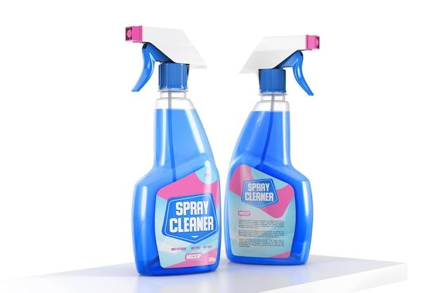 Mockup van twee plastic spray-wasmiddelflessen