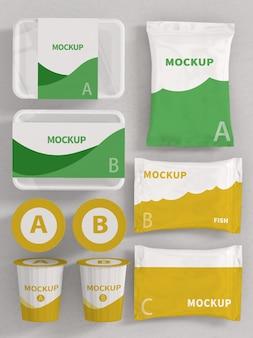 Mockup van verpakkingsproductset
