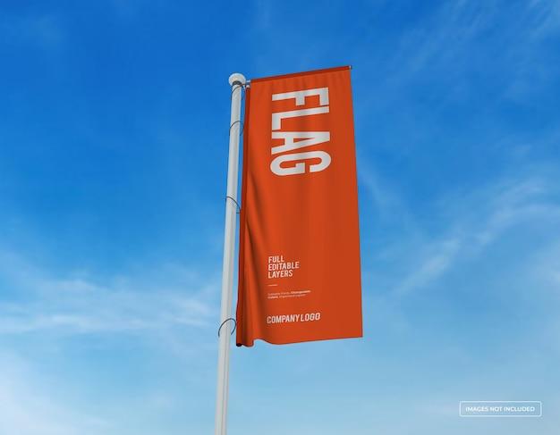 Mockup van verticaal vlagontwerp