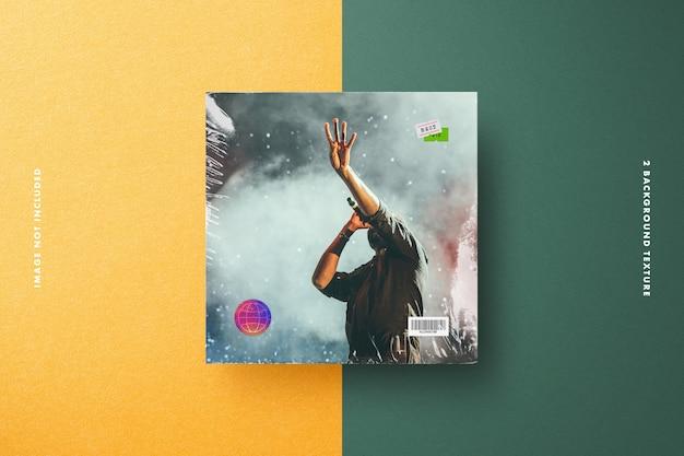 Mockup van vinyl met plastic folie, prijskaartje en holografisch veiligheidslabel