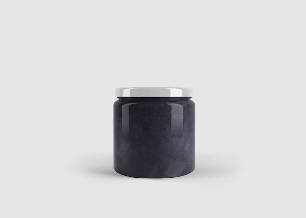 Mockup van violet jam of saus pot met aangepaste vorm label in schone studio scene