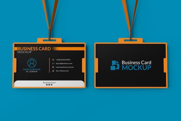 Mockup van visitekaartjes in id-houder